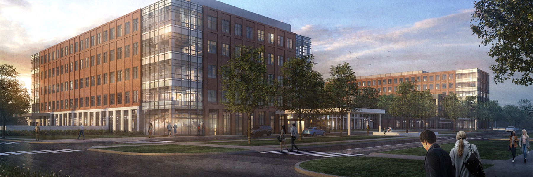 rendering of the facade of thel new Outpatient Care facility in New Albany, approximately 4 stories tall
